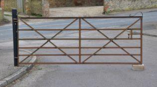 A wrought iron estate gate