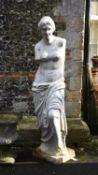 A white painted cast iron model of Venus de Milo