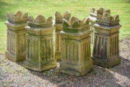 A set of six Victorian stoneware chimneypots
