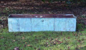 A large verdigris patinated copper trough
