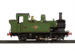 An exhibition standard 7 1/4 inch gauge model of a Great Western Railway 14xx tank locomotive