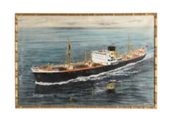 An oil painting of the cargo ship 'Newcrest'