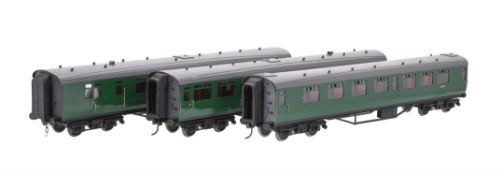 A rake of three gauge 1 Bulleid British Rail passenger coaches