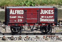 A 5 inch gauge private owner seven plank coal wagon 'Alfred Jukes Birmingham'