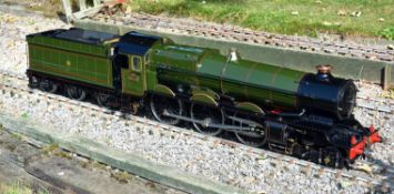 An exhibition standard 5 inch gauge model of the GWR 4-6-0 King Class tender locomotive