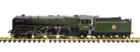 A gauge 1 model of the live steam 4-6-2 British Railways Britannia Class tender locomotive No 70009