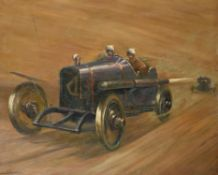 A framed oil painting of an early Sunbeam racing car