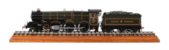 A gauge 1 live steam model of the Great Western 4-6-0 tender locomotive No 6000 King George V