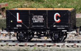 A 5 inch gauge private owners seven plank coal wagon built by Bath Wagon Works