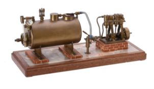 A well engineered model of a twin oscillating vertical steam engine
