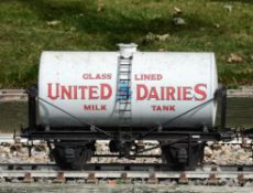 A 5 inch gauge four wheeled milk tanker wagon 'United Dairies'
