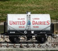 A 5 inch gauge finely detailed four wheeled milk tanker wagon 'United Dairies'