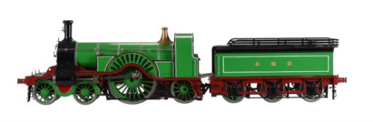An exhibition standard model of a 3 1/2 inch gauge 4-2-2 Stirling single tender locomotive