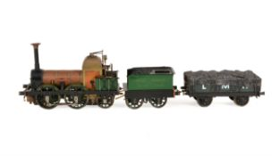 A well engineered model of a 3 1/2 inch gauge 0-4-2 tender locomotive 'Lion' with wagon