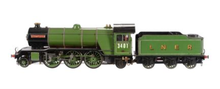 A well engineered 3 1/2 inch gauge model of a 2-6-2 LNER Class V4 tender locomotive No 3401