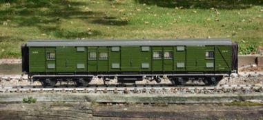 A 5 inch gauge luggage van. Southern Railways 57 gangway bogie luggage Van No 2332