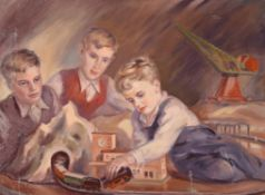 A German 20th Century oil on canvas of three boys playing with a 00 train set