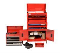 Three metal tool cabinets
