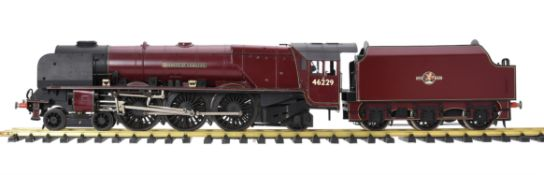 A gauge 1 model of a 4-6-2 tender locomotive No 46229 'Duchess of Hamilton'