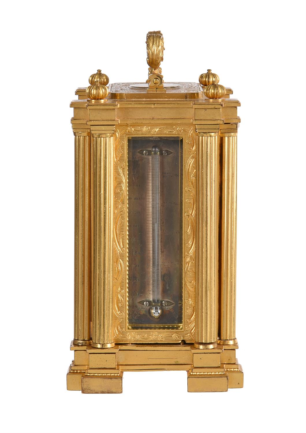A fine small early Victorian engraved gilt brass small calendar carriage timepiece with twin thermom - Image 4 of 14