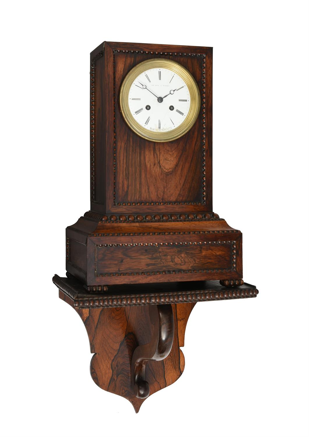 Y A French Louis Philippe rosewood mantel clock and wall bracket