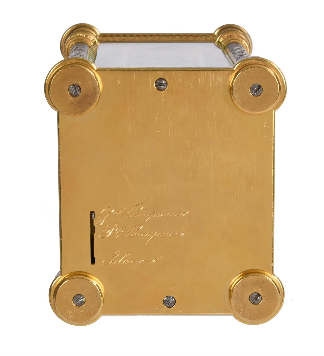 A fine multi-colour grande-sonnerie striking and repeating moonphase calendar alarm carriage clock - Image 8 of 8
