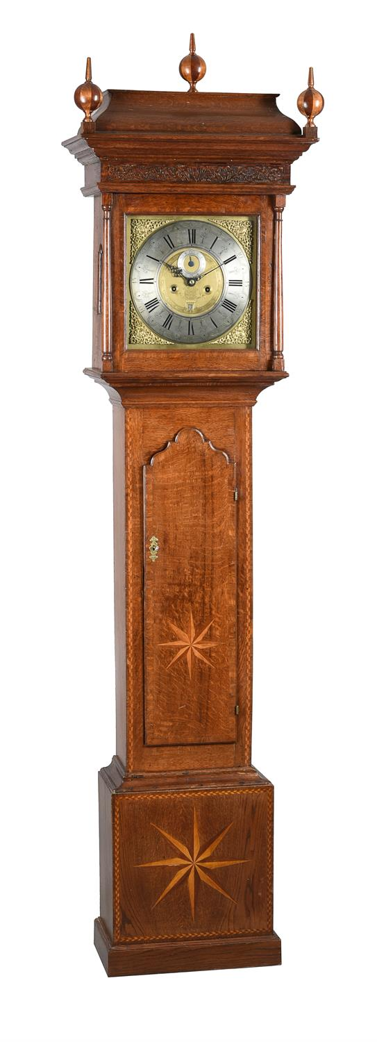 A George II parquetry inlaid oak eight-day longcase clock
