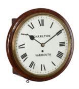 A Victorian mahogany fusee wall dial timepiece