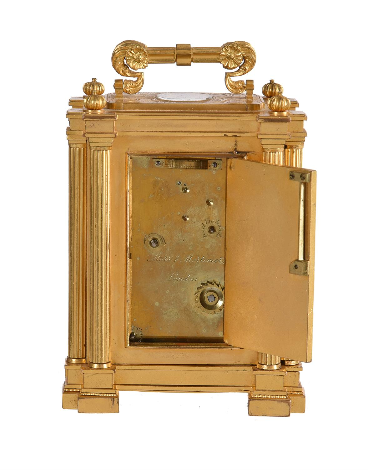 A fine small early Victorian engraved gilt brass small calendar carriage timepiece with twin thermom - Image 7 of 14