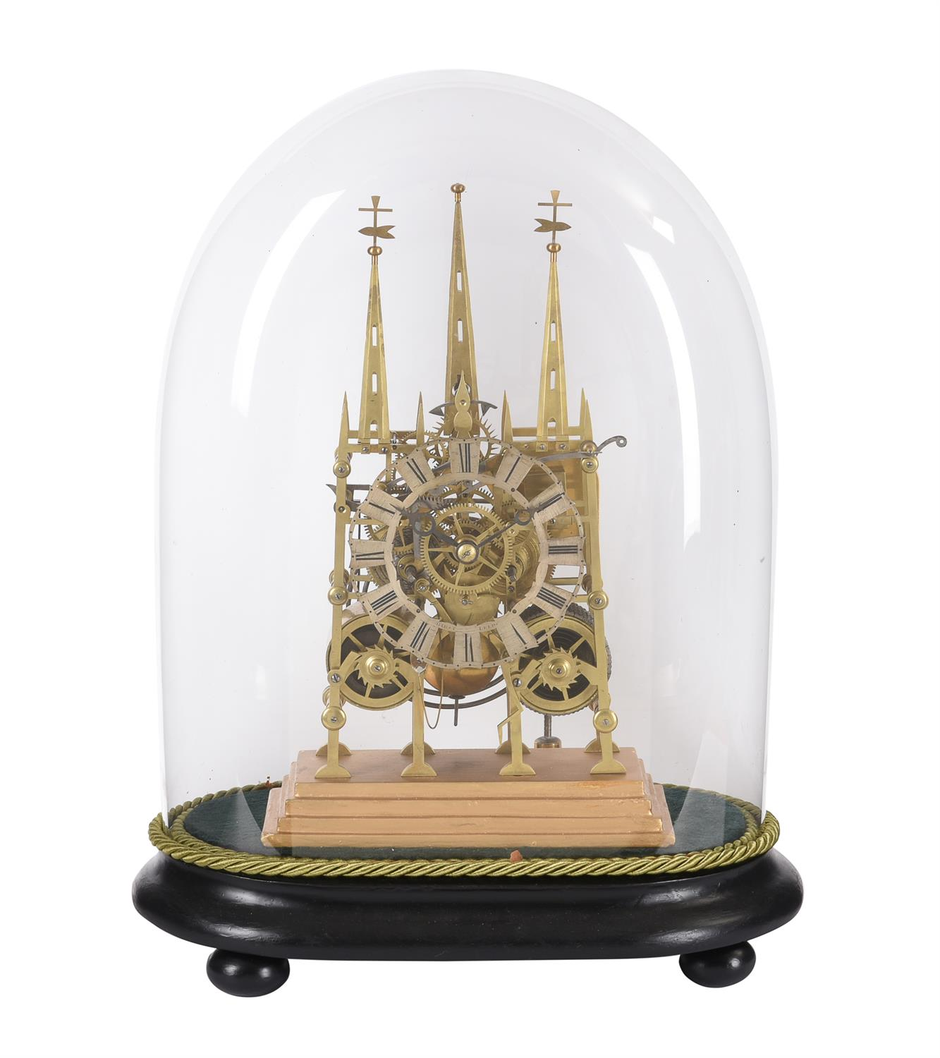 A Victorian lacquered brass 'Litchfield Cathedral' hour striking skeleton clock - Image 3 of 3