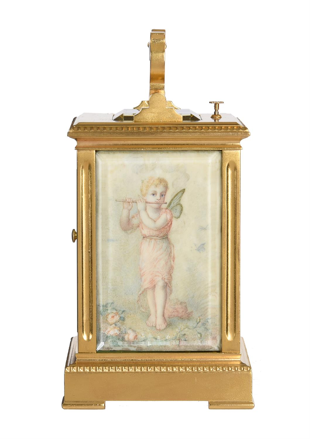 Y A French gilt brass carriage clock with painted ivory panels and push-button repeat - Image 3 of 5