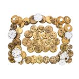A collection of English lever pocket watch movements