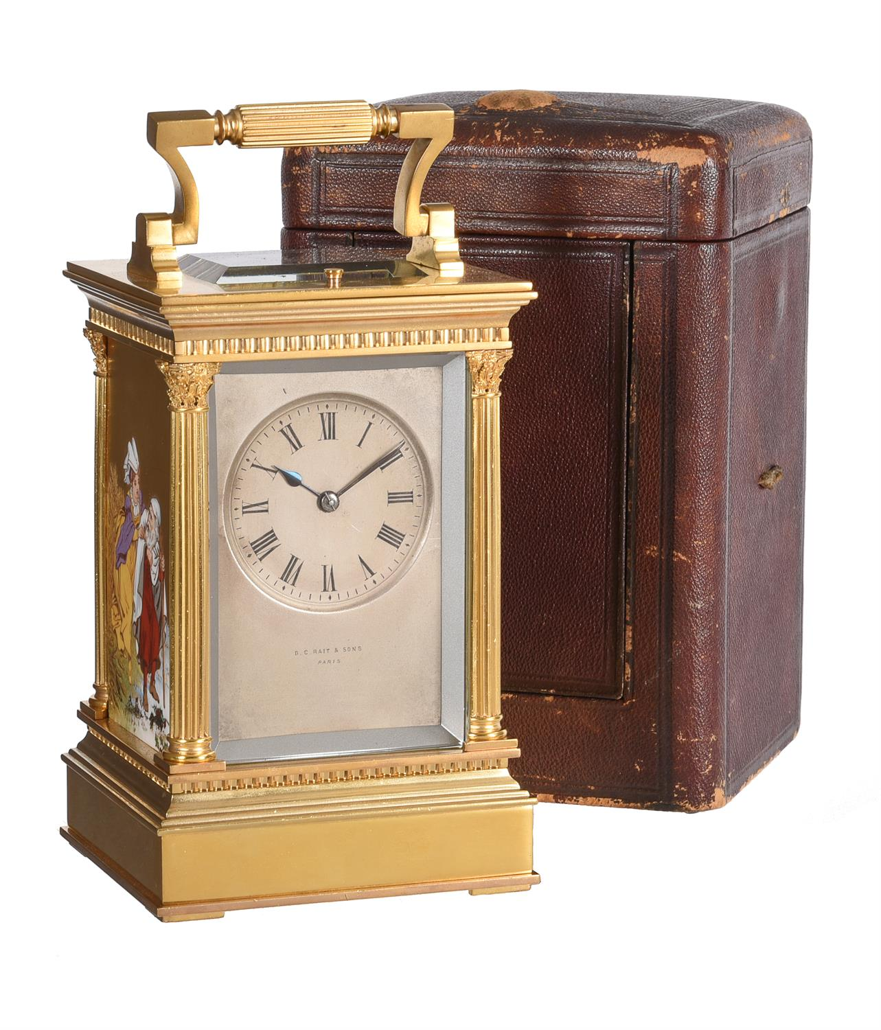 A fine French gilt brass carriage clock with painted porcelain panels and push-button repeat - Image 7 of 7