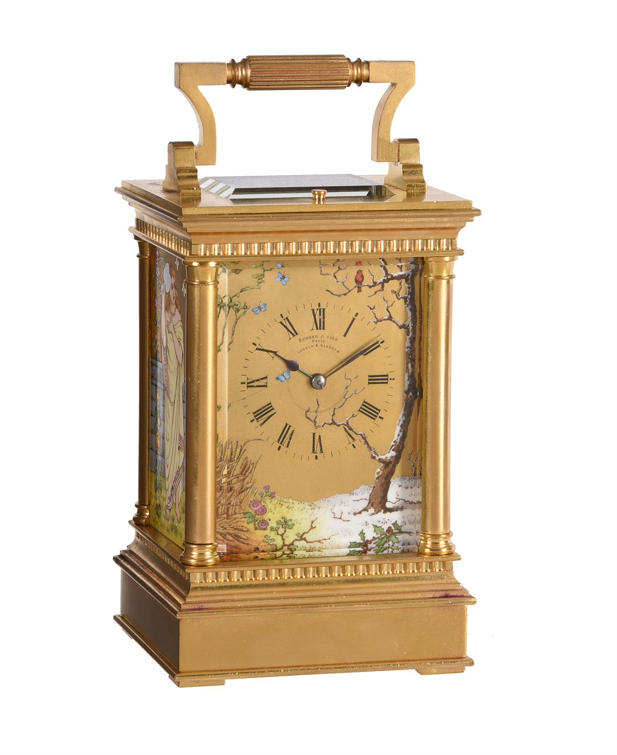 A fine French gilt brass carriage clock with painted porcelain panels and push-button repeat
