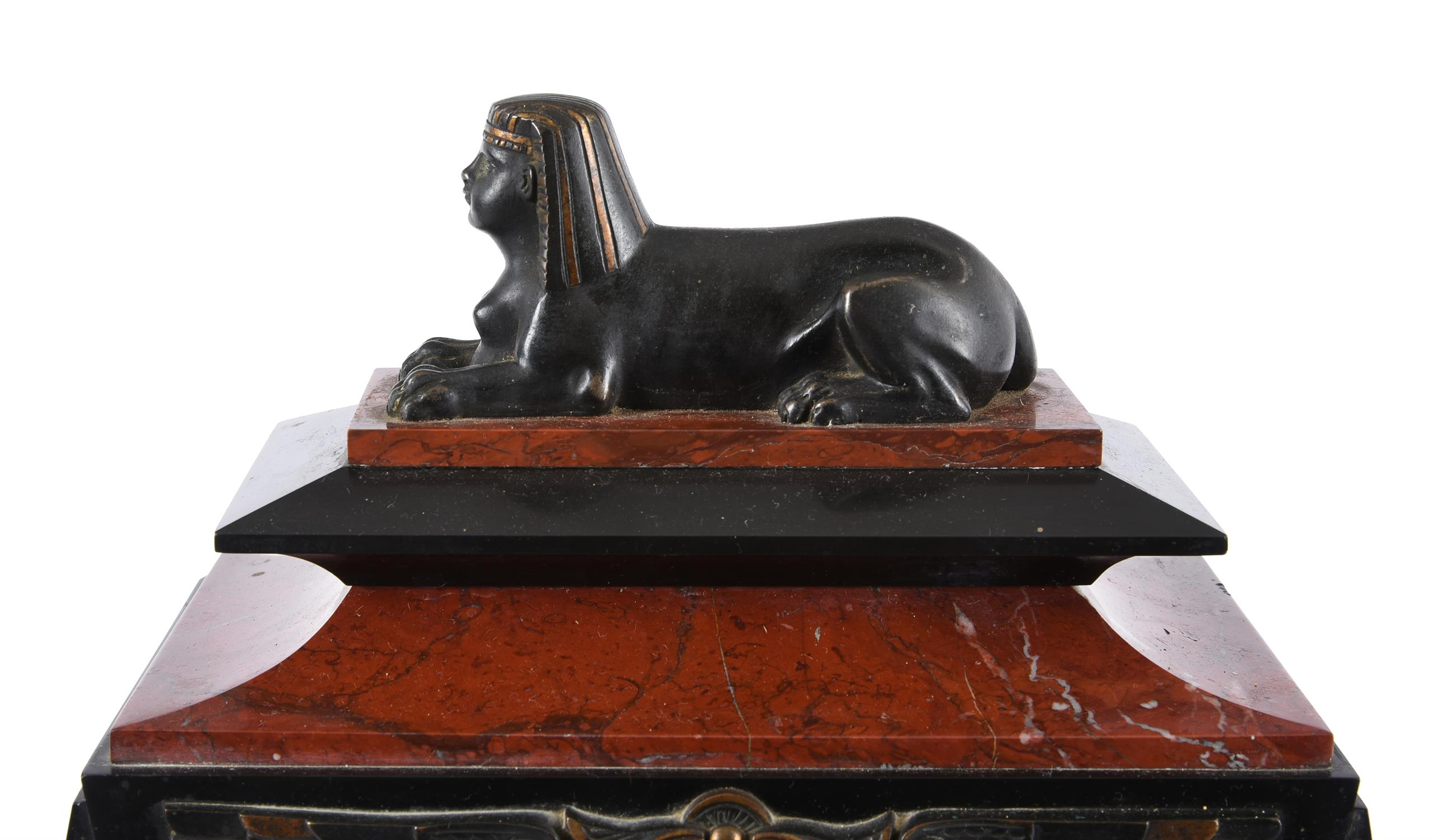 A French Egyptian revival bronze mounted marble mantel clock garniture - Image 2 of 7