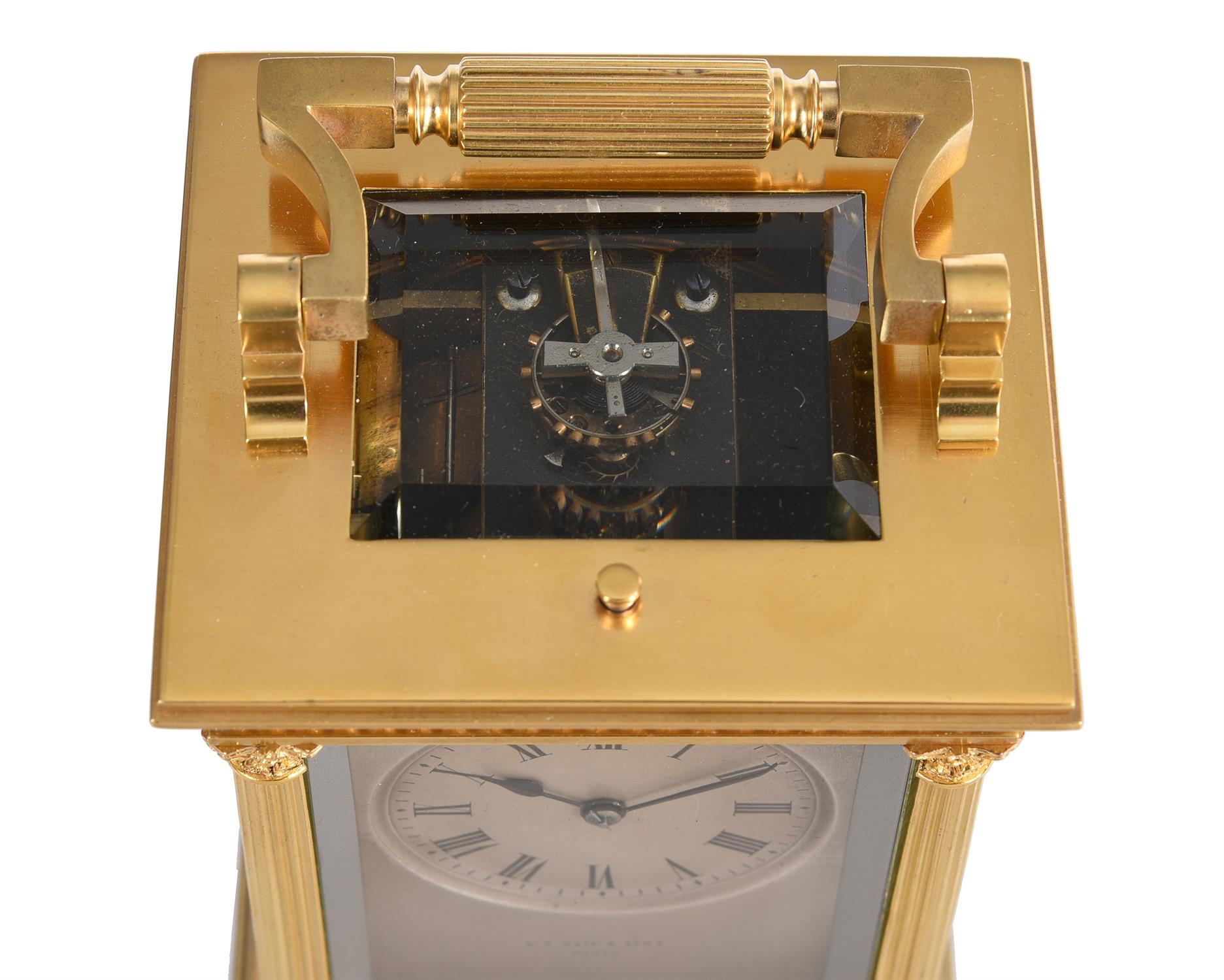 A fine French gilt brass carriage clock with painted porcelain panels and push-button repeat - Image 2 of 7