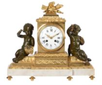 A French Napoleon III bronze, ormolu and white marble figural mantel clock in the Louis XVI style