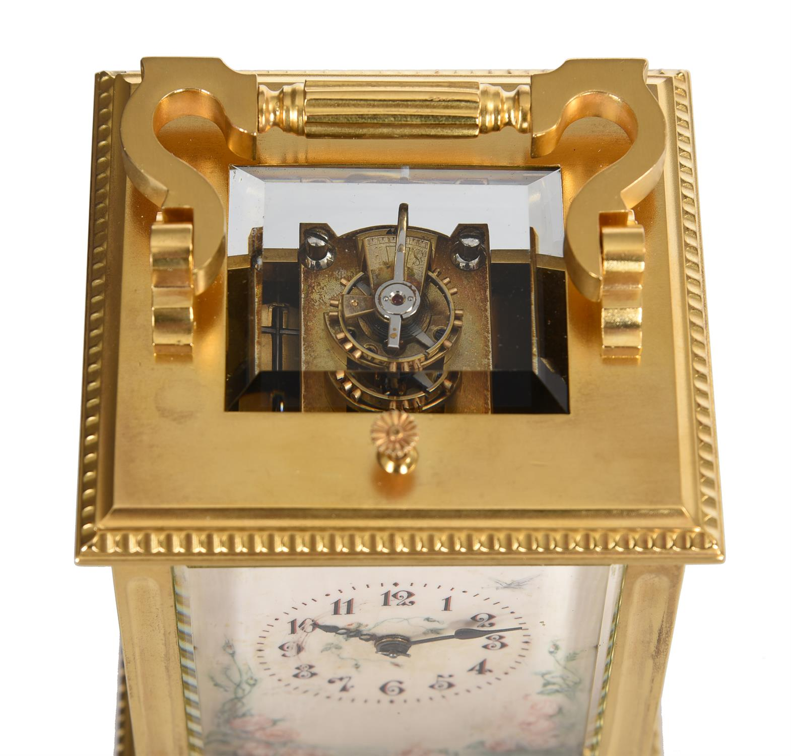 Y A French gilt brass carriage clock with painted ivory panels and push-button repeat - Image 2 of 5