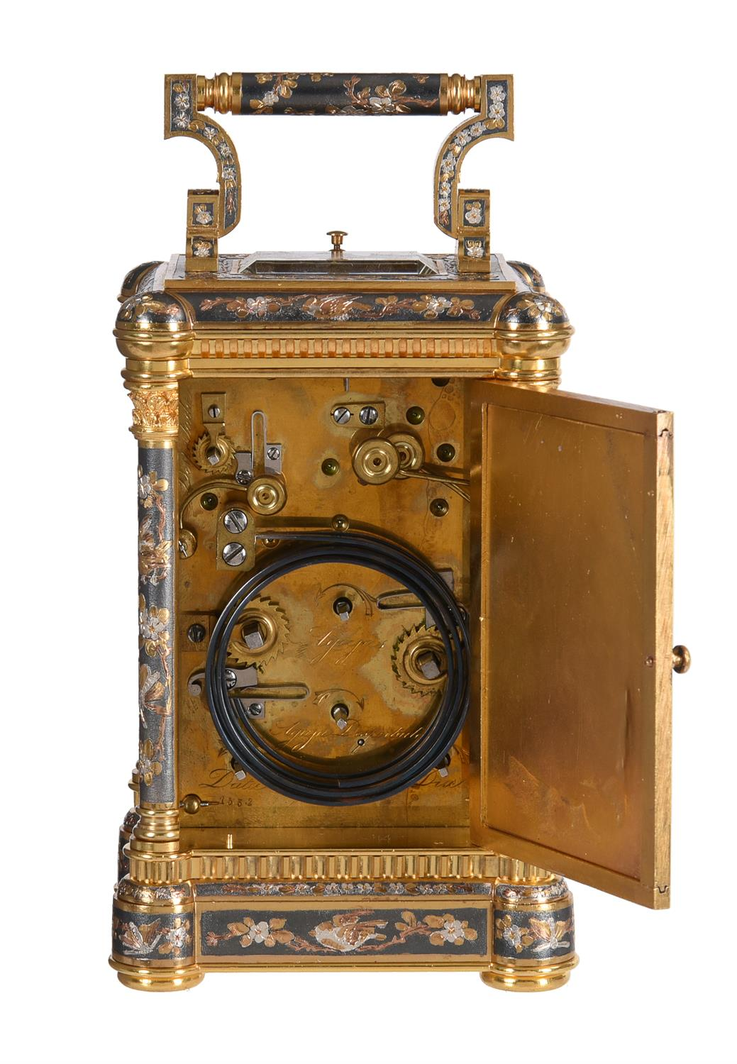 A fine multi-colour grande-sonnerie striking and repeating moonphase calendar alarm carriage clock - Image 4 of 8