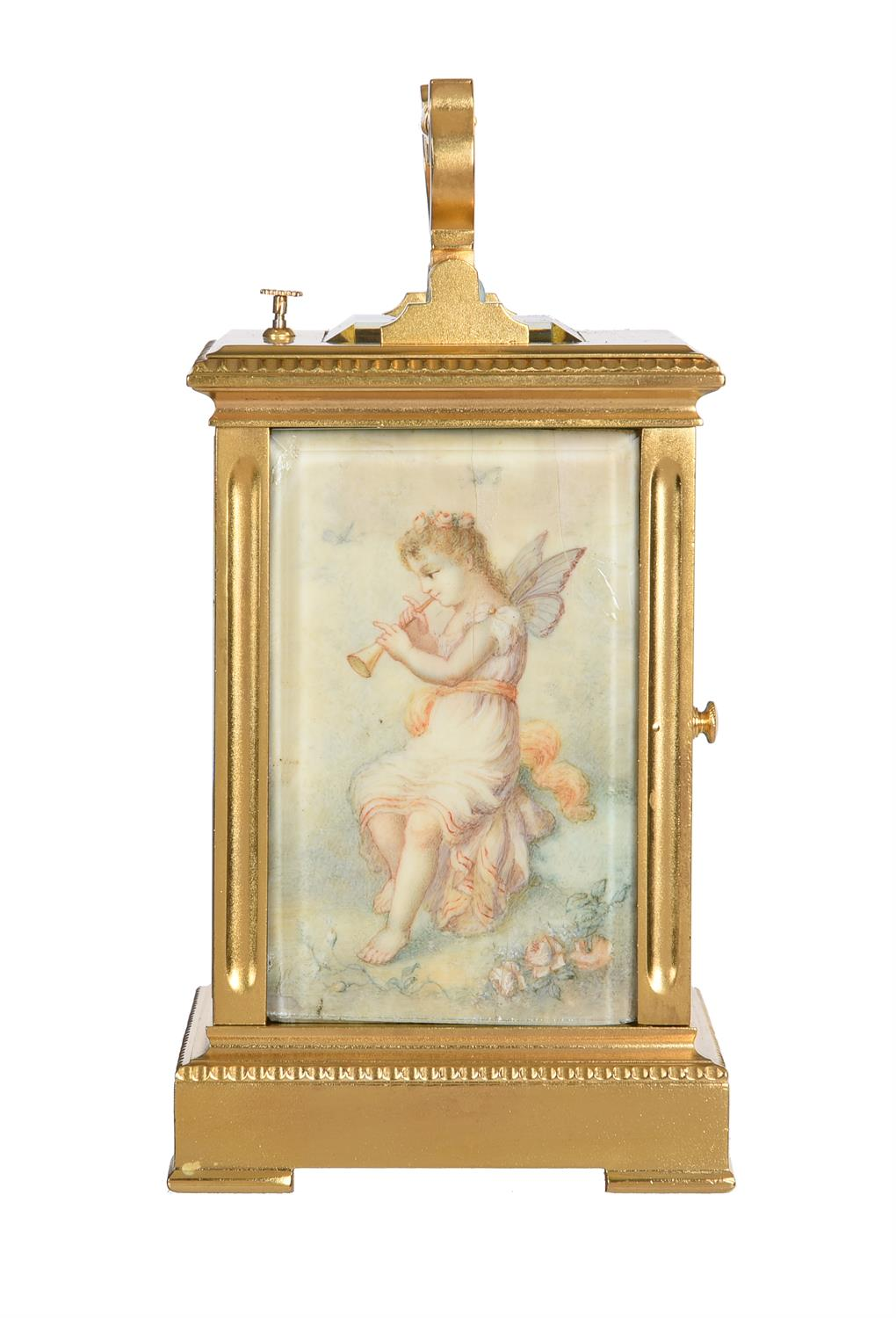 Y A French gilt brass carriage clock with painted ivory panels and push-button repeat - Image 4 of 5