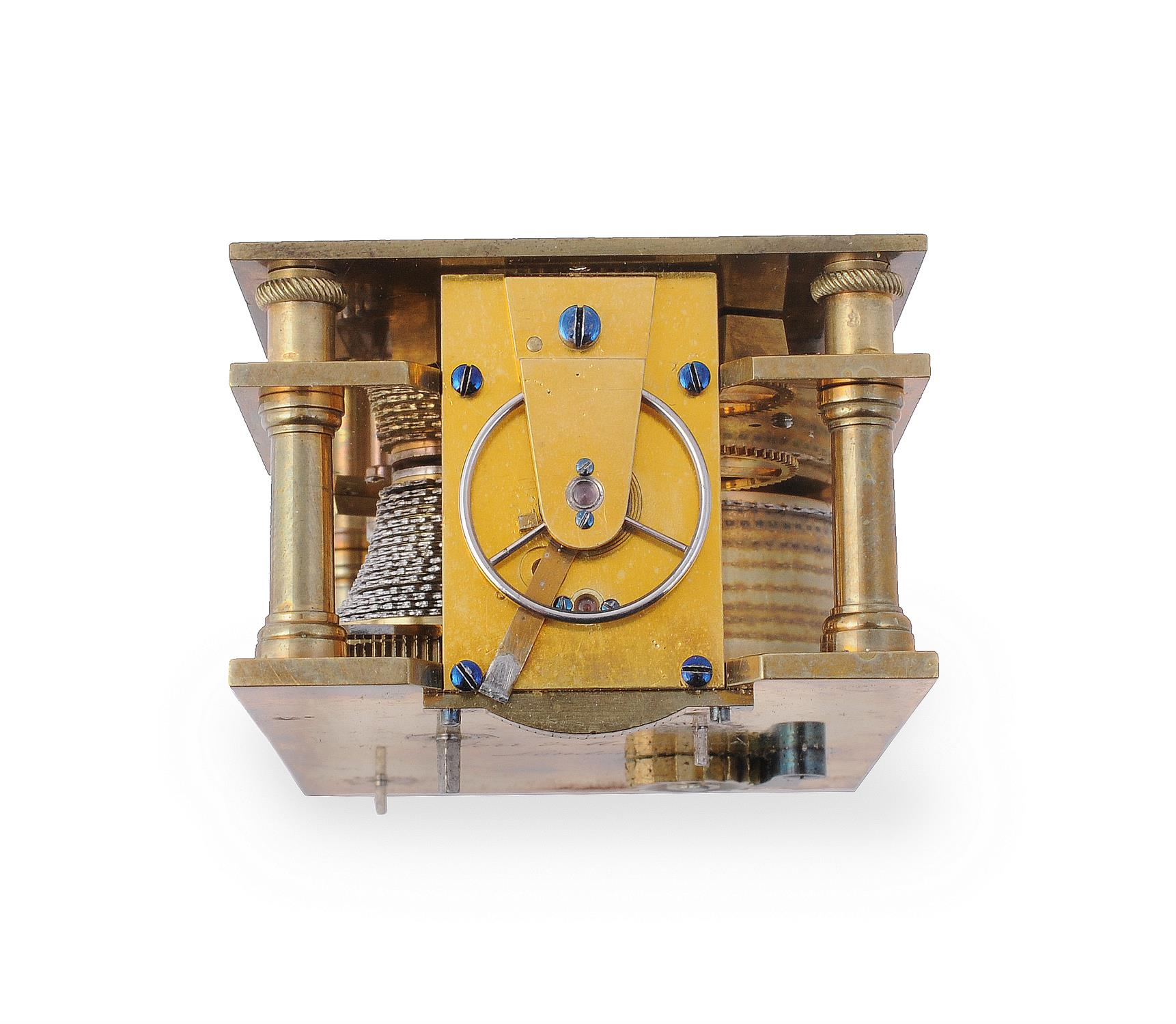 A fine small early Victorian engraved gilt brass small calendar carriage timepiece with twin thermom - Image 13 of 14