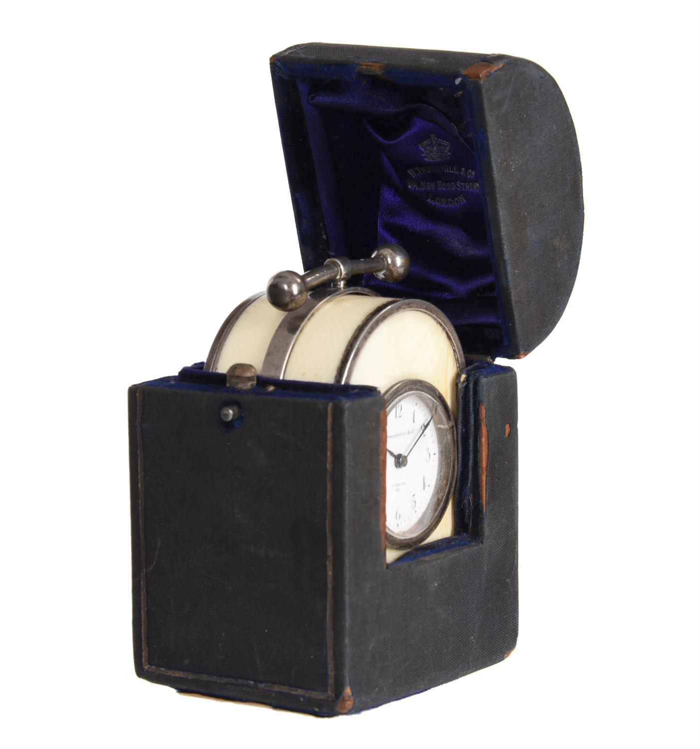 Y An unusual Victorian silver mounted ivory miniature 'humpback' carriage timepiece - Image 5 of 5