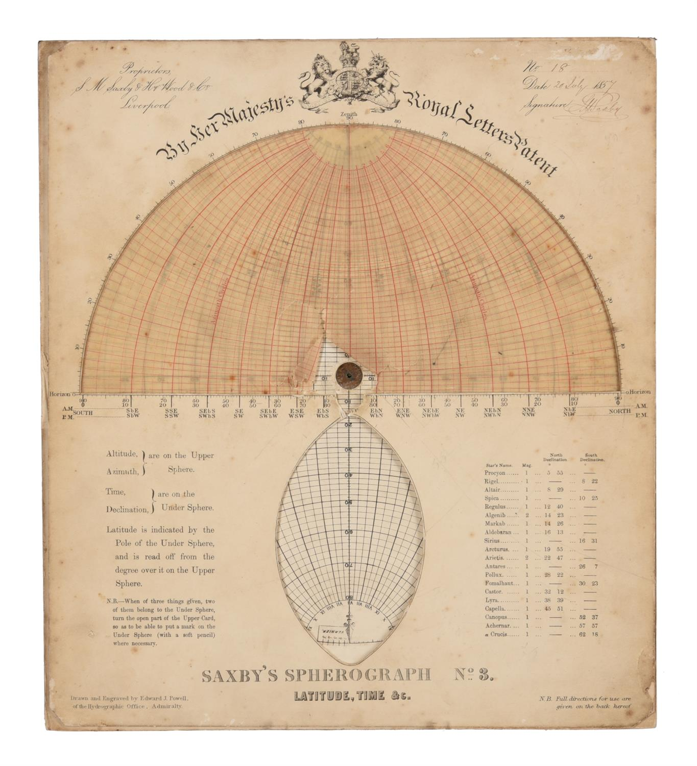 A rare group of 'Saxby's patent spherograph' marine navigational error calculator panels - Image 4 of 19