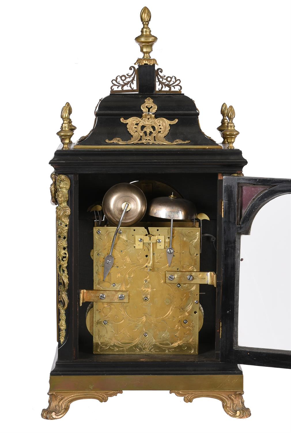 A fine George III ormolu mounted ebonised quarter-chiming table clock with pull-trip repeat - Image 2 of 2