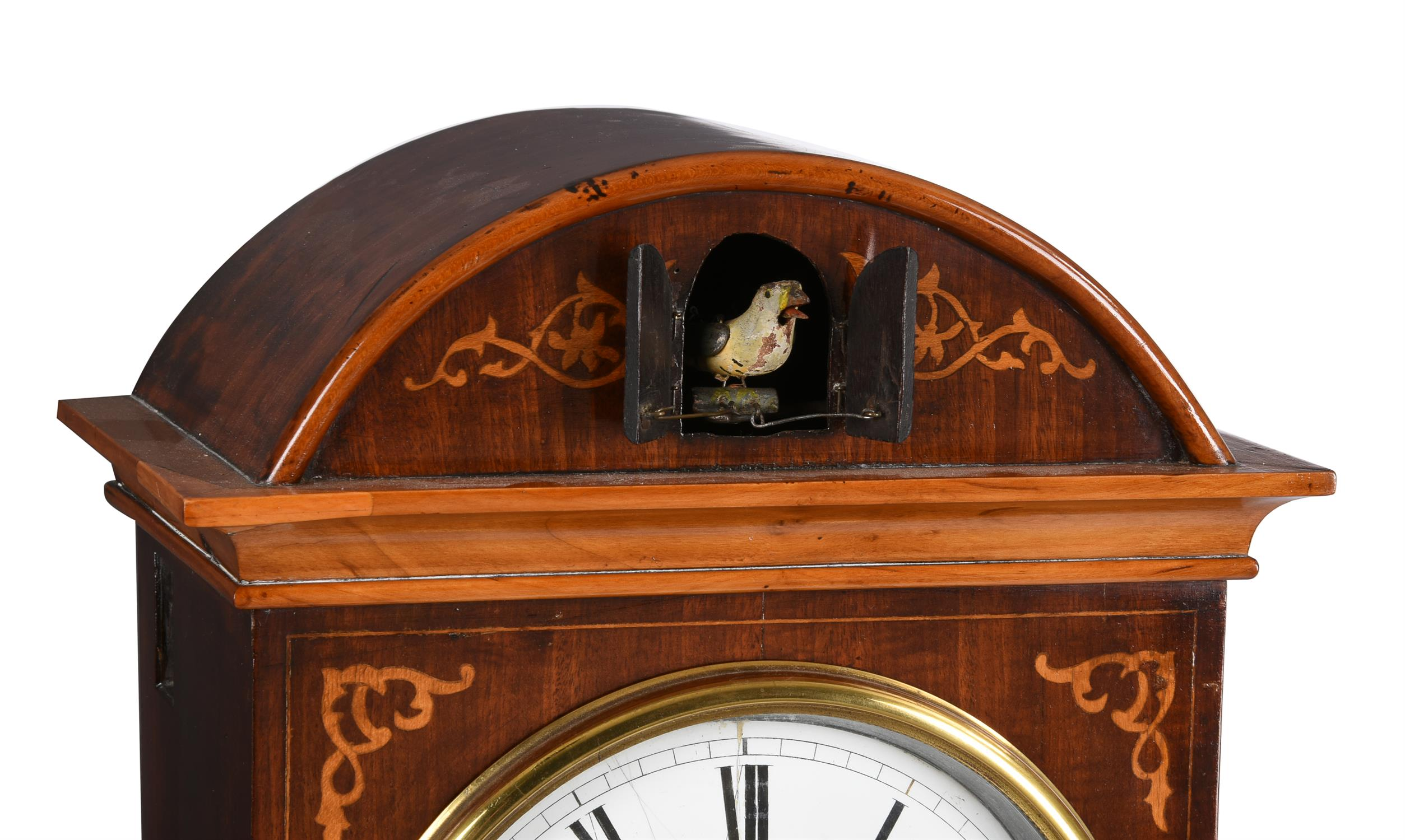 A rare German Black Forest inlaid mahogany spring-driven musical cuckoo mantel clock - Image 3 of 9