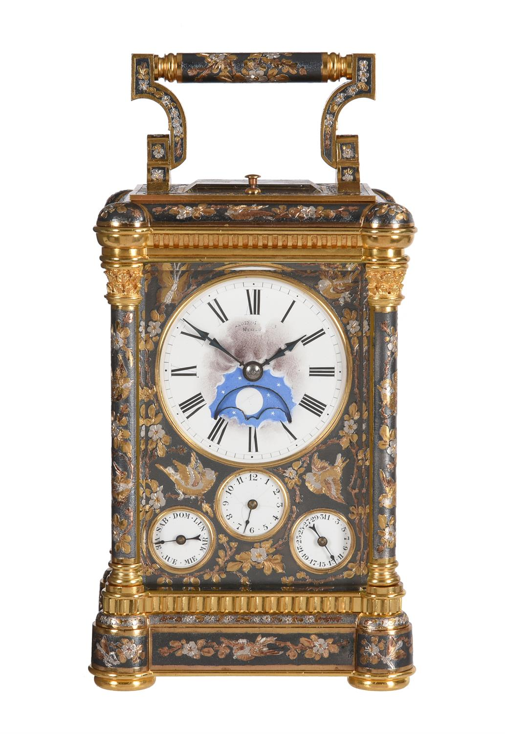 A fine multi-colour grande-sonnerie striking and repeating moonphase calendar alarm carriage clock - Image 5 of 8