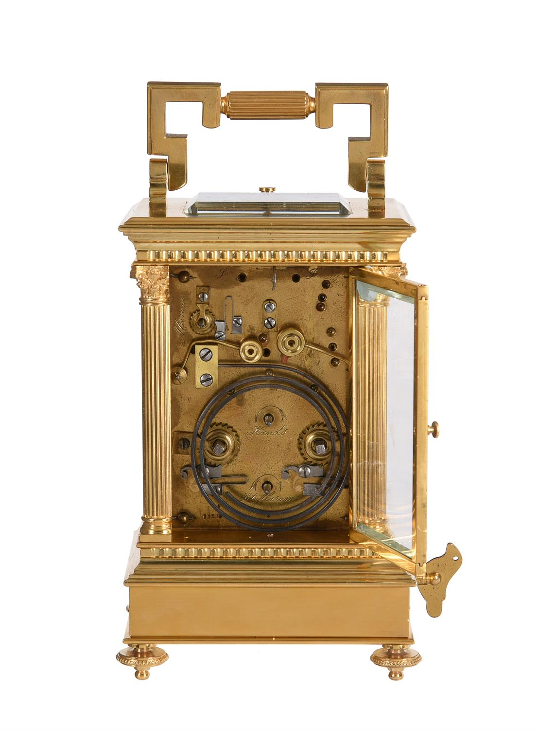 A rare gilt brass carriage clock with push-button repeat, alarm and musical movement to base - Image 3 of 3