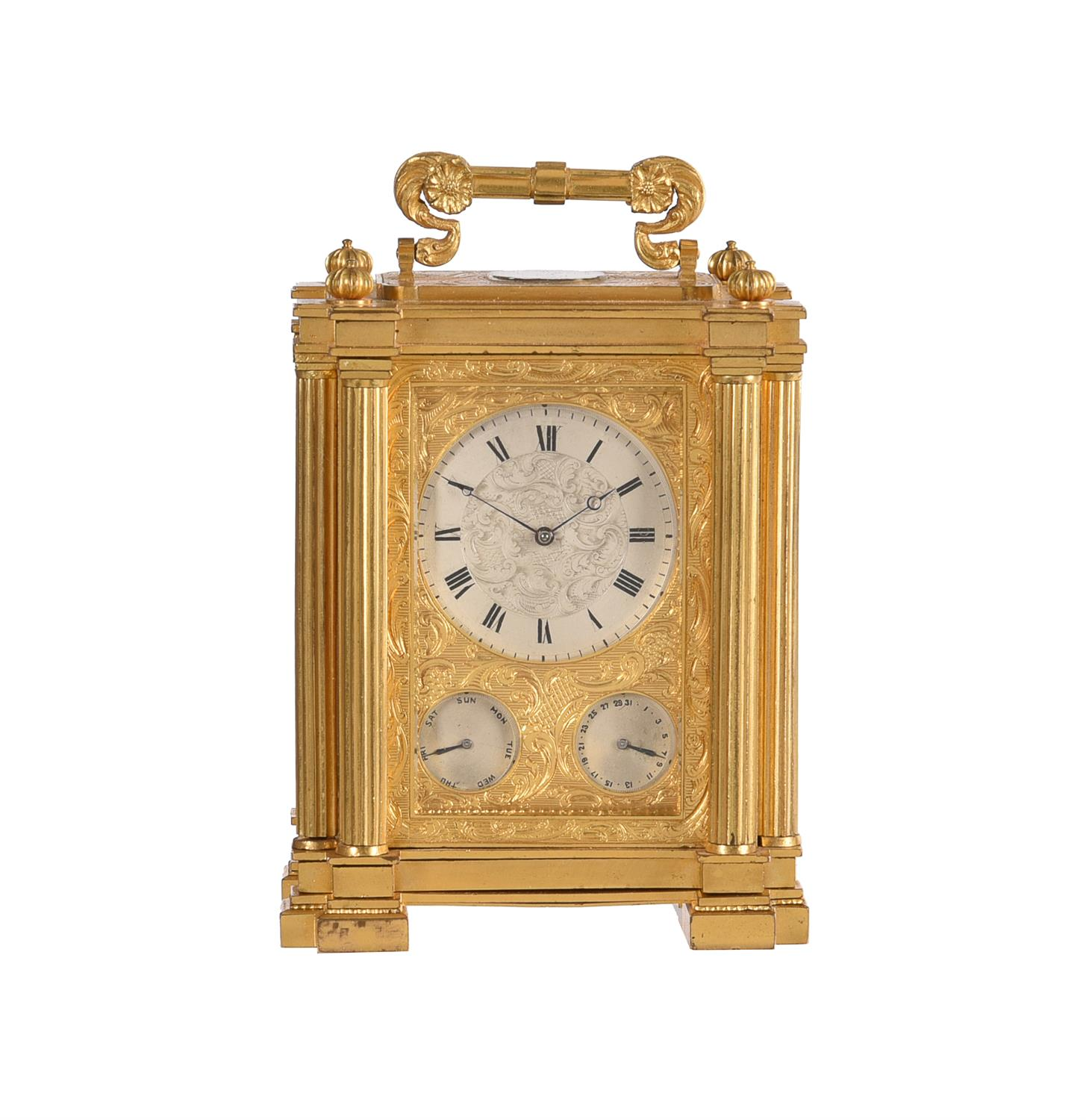 A fine small early Victorian engraved gilt brass small calendar carriage timepiece with twin thermom - Image 2 of 14