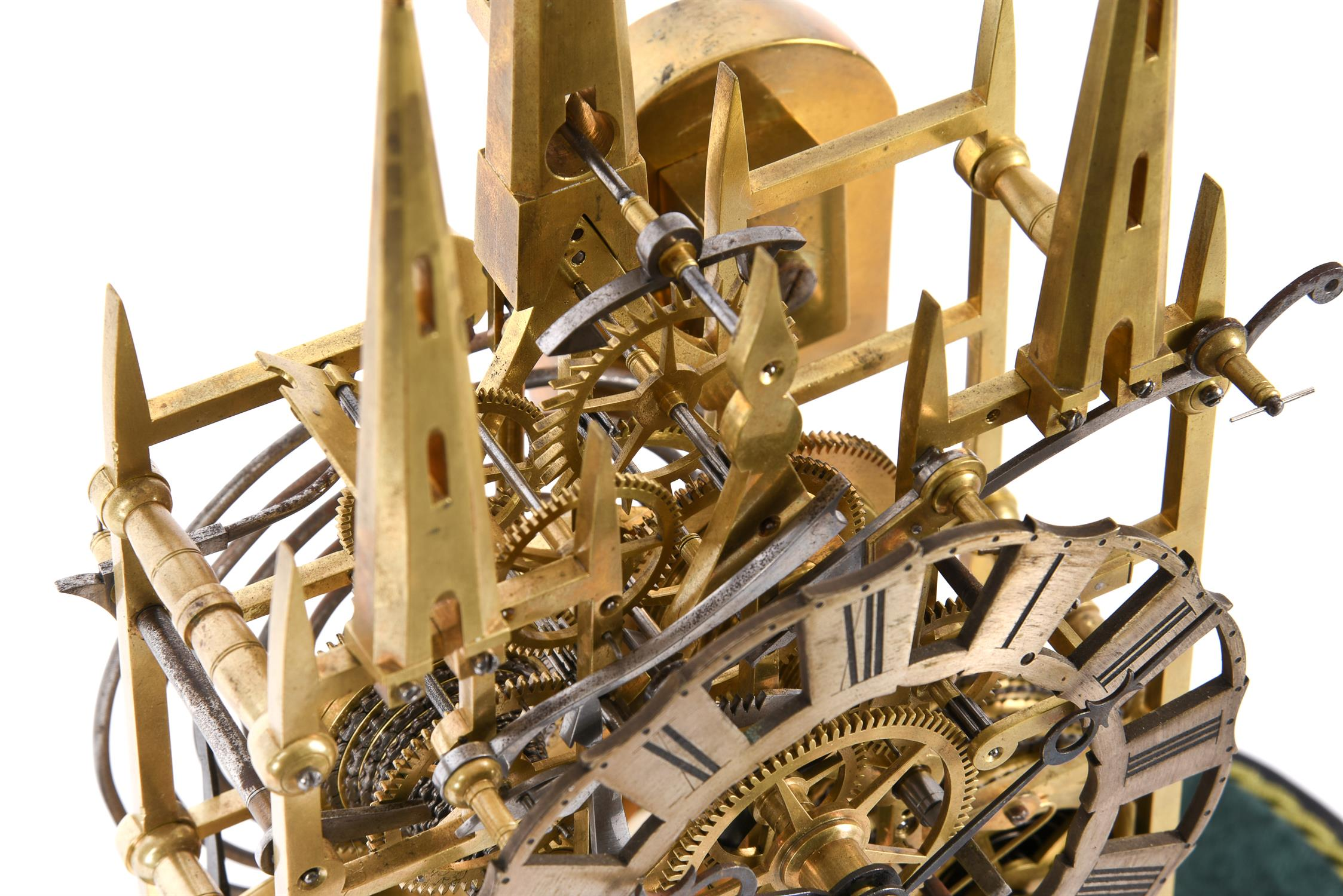 A Victorian lacquered brass 'Litchfield Cathedral' hour striking skeleton clock - Image 2 of 3