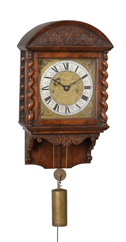 A fine and very rare Charles II walnut hooded wall clock, Nathanial Barrow